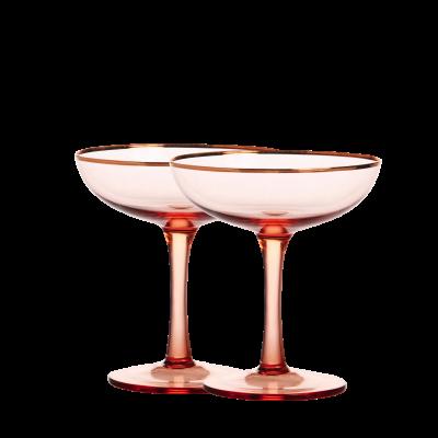 Champagne Coupes roze met gouden rand &Klevering 2 stuks